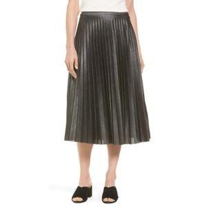Halogen Metallic Pleat Midi Skirt